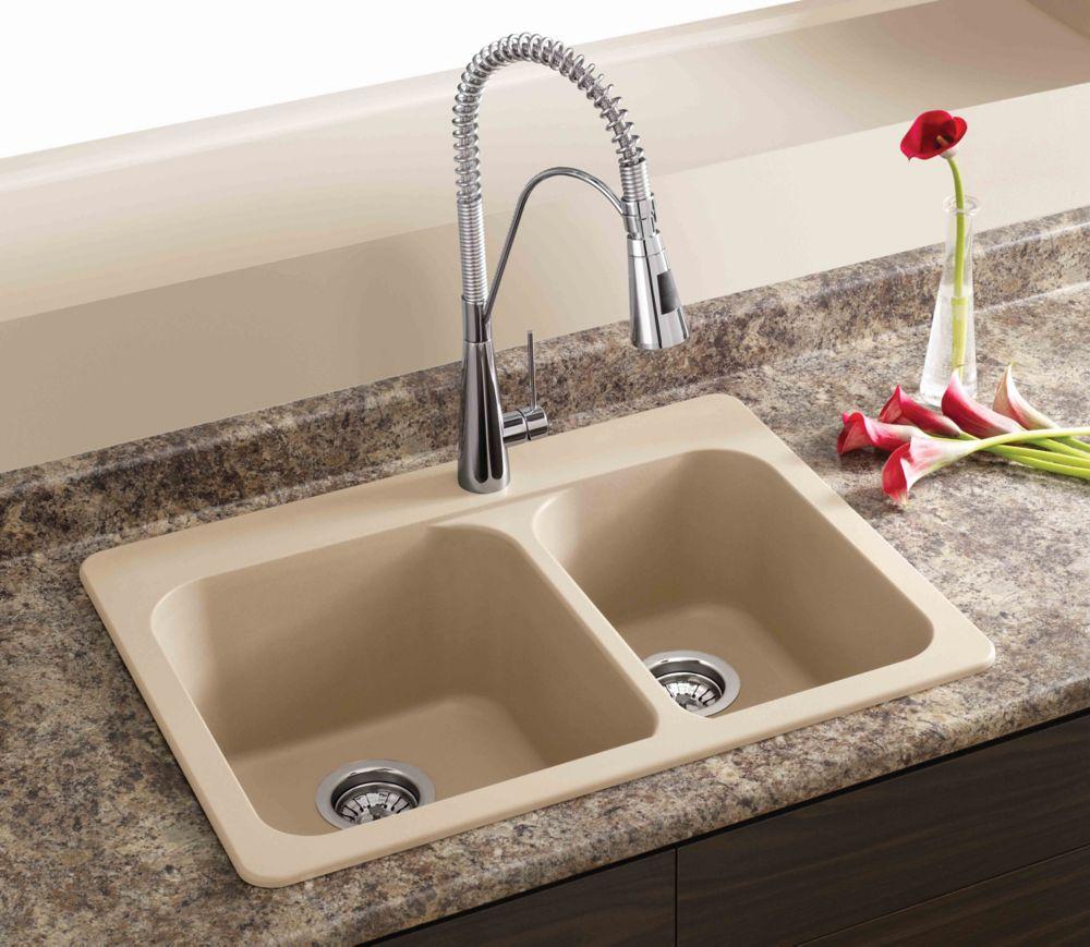 Blanco Silgranit, Natural Granite Composite Topmount Kitchen Sink, Biscotti  | The Home Depot Canada