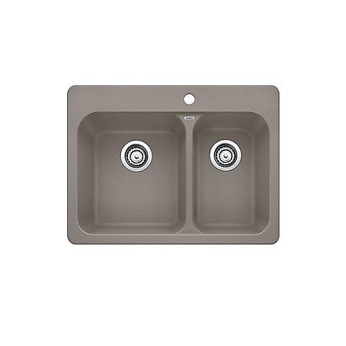 Vision 1  Double Bowl Drop-in Kitchen Sink, SILGRANIT Granite Composite