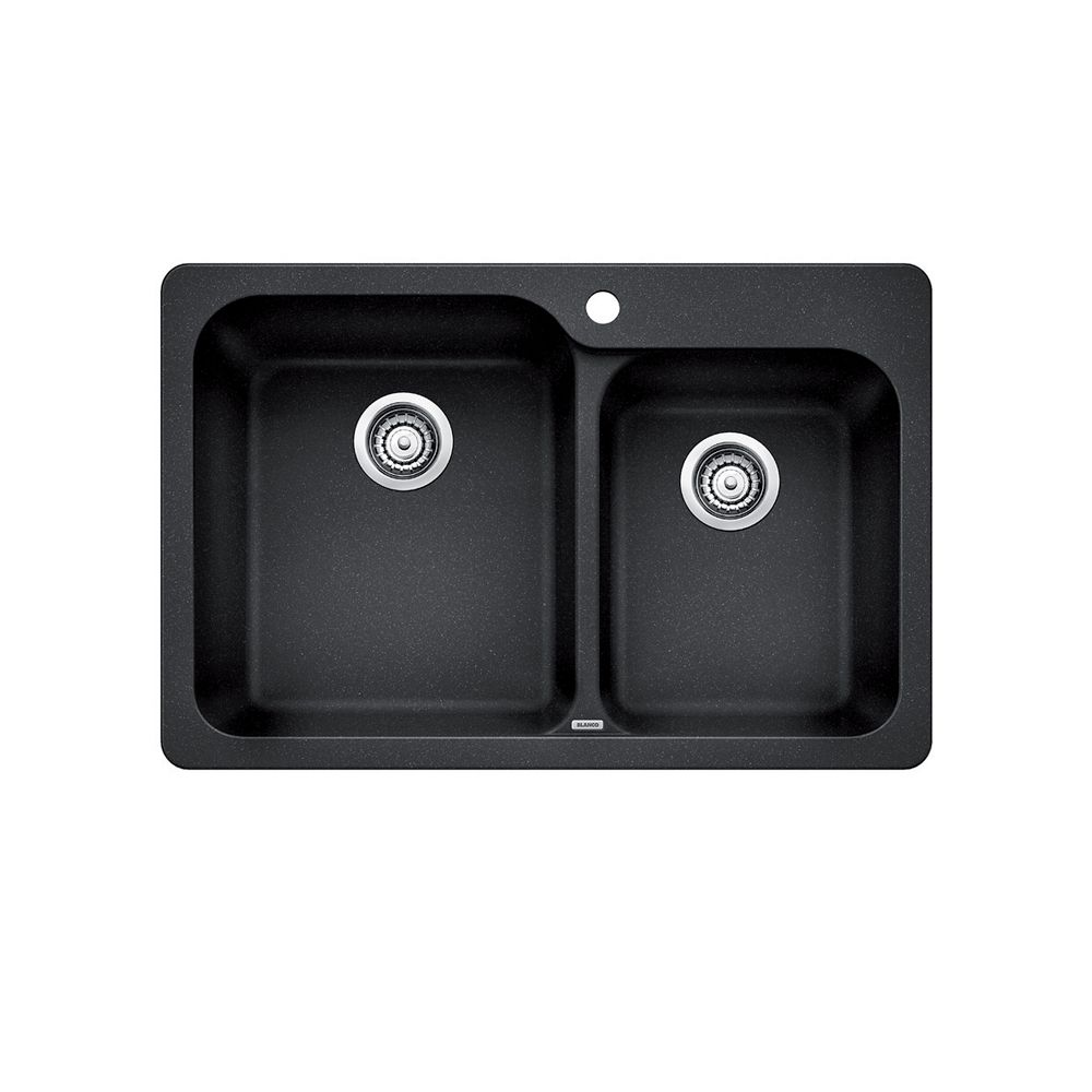 Blanco Top Mount Kitchen Sinks : Silgranit, Natural Granite Composite Topmount Kitchen Sink, Anthracite
