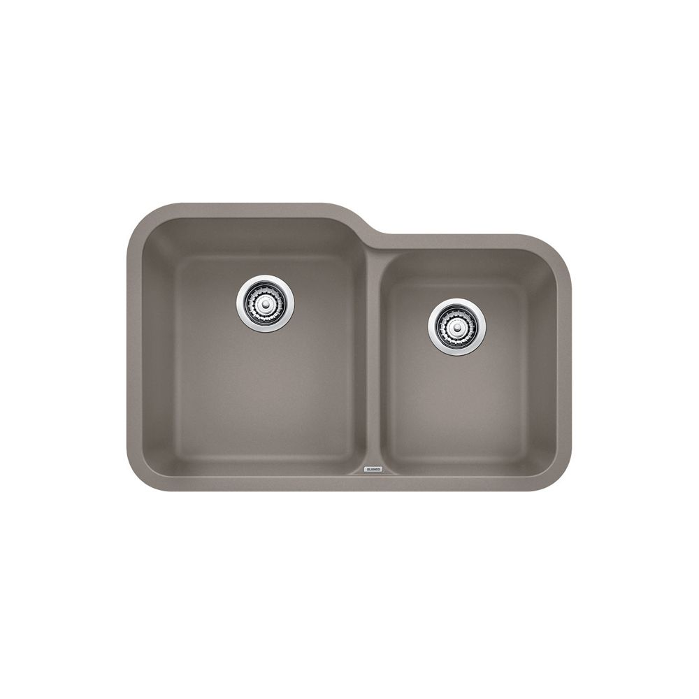 Blanco Vision U 1 SILGRANIT Granite Composite Double Bowl Undermount Kitchen Sink in Truffle
