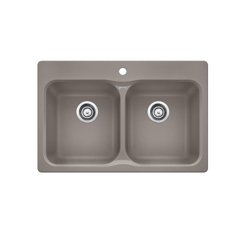 Silgranit, Natural Granite Composite Topmount Kitchen Sink, Truffle SOP1287 in Canada