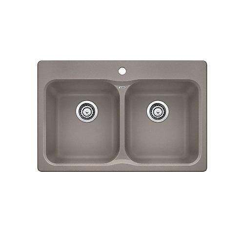 Vision 210 Double Bowl Drop-in Kitchen Sink, SILGRANIT Granite Composite