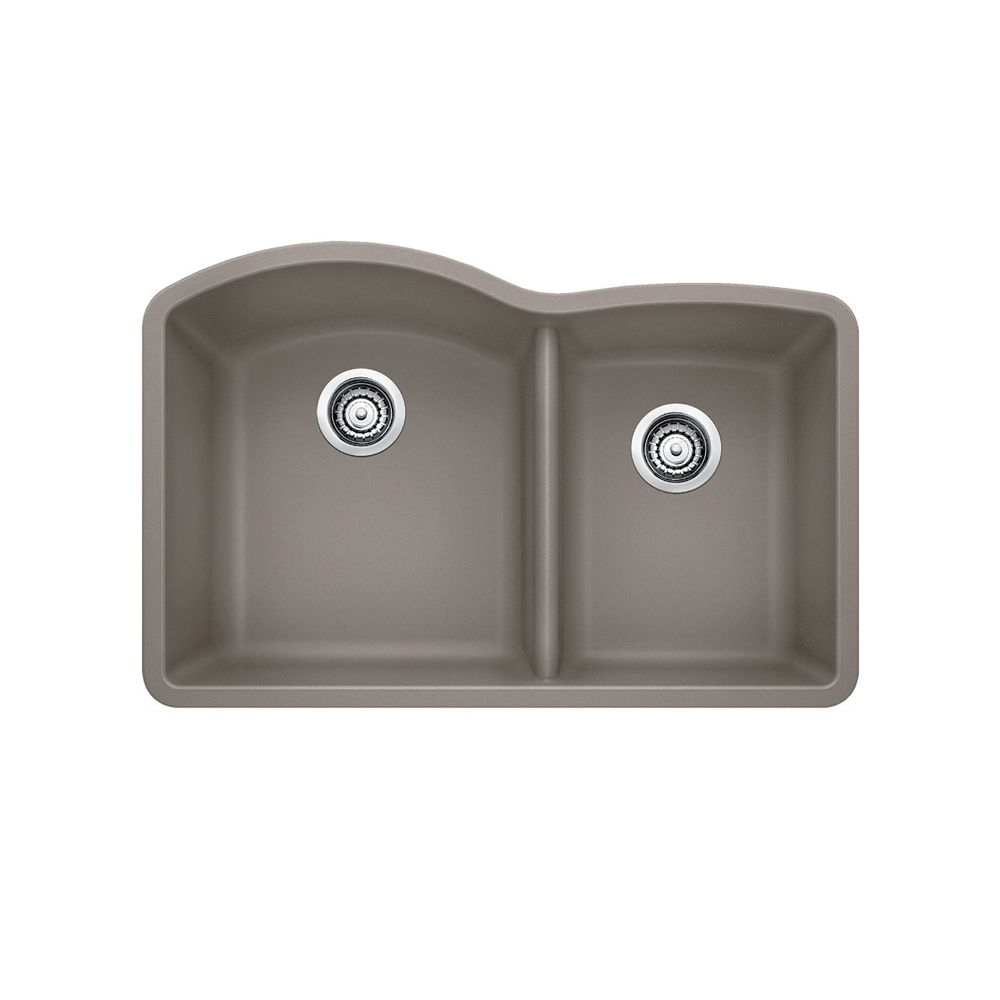 Blanco Diamond U 1  Double Bowl Undermount Kitchen Sink, SILGRANIT Granite Composite
