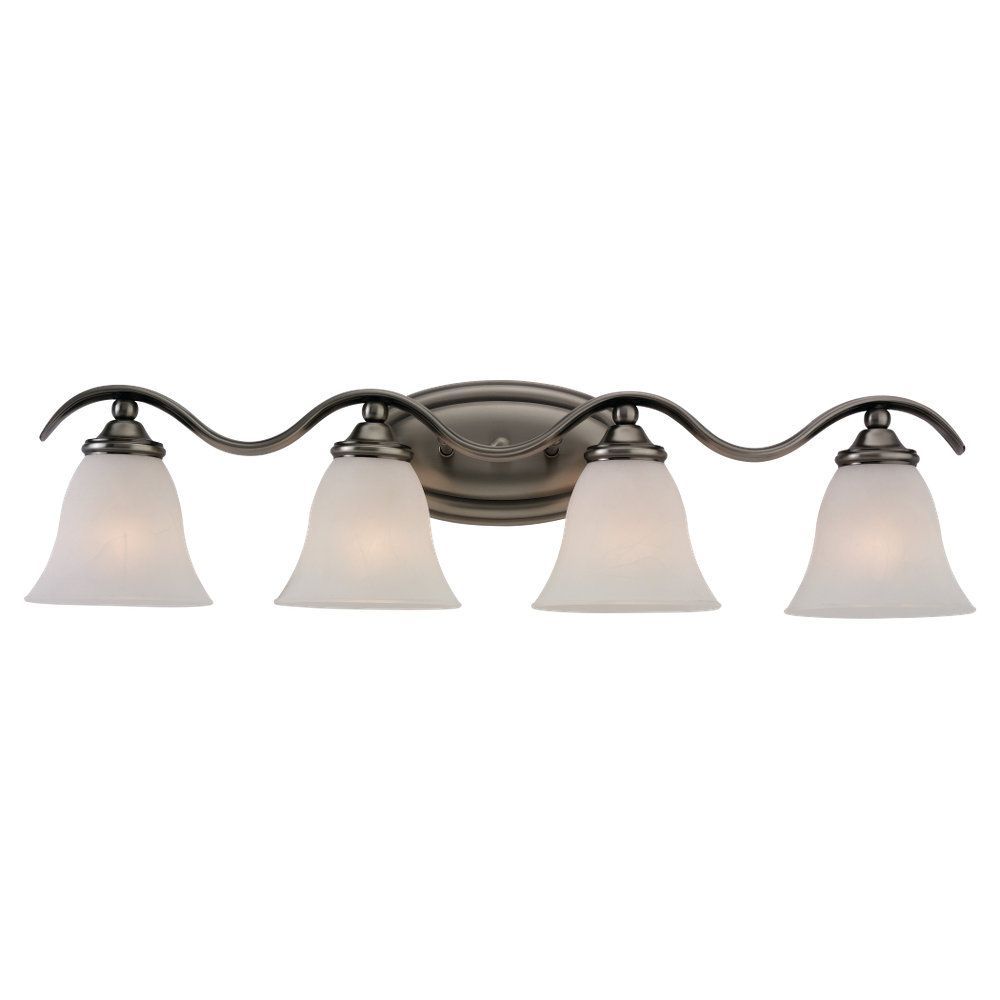 4 Light Antique Brushed Nickel Incandescent Bathroom Vanity