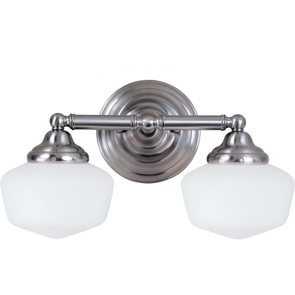 2 Light Brushed Nickel Incandescent Bathroom Vanity