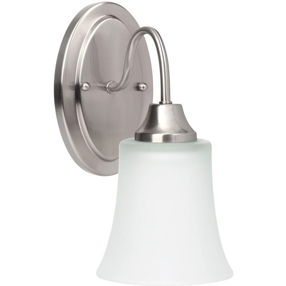 1 Light Brushed Nickel Fluorescent Bathroom Vanity