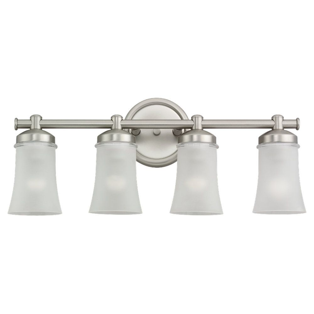 4 Light Antique Brushed Nickel Fluorescent Bathroom Vanity