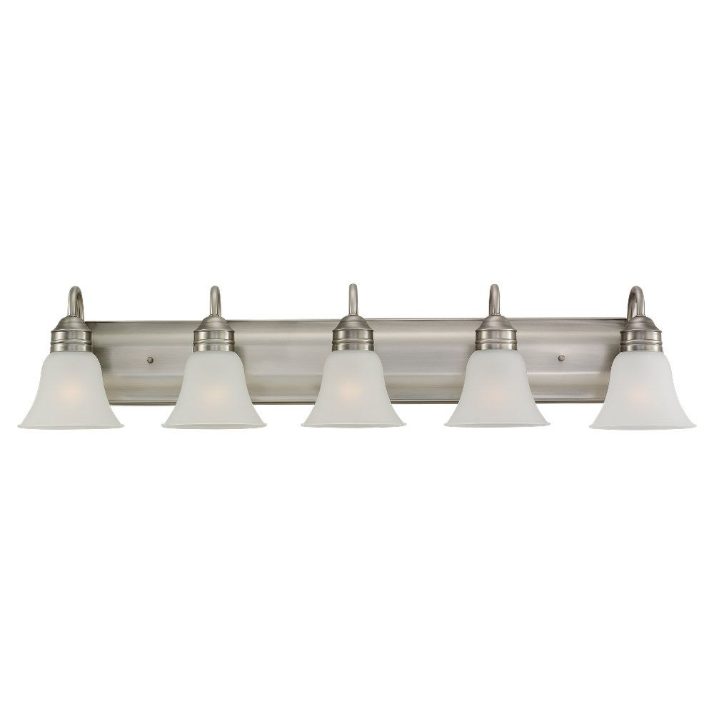 5-Light Antique Brushed Nickel Bathroom Vanity