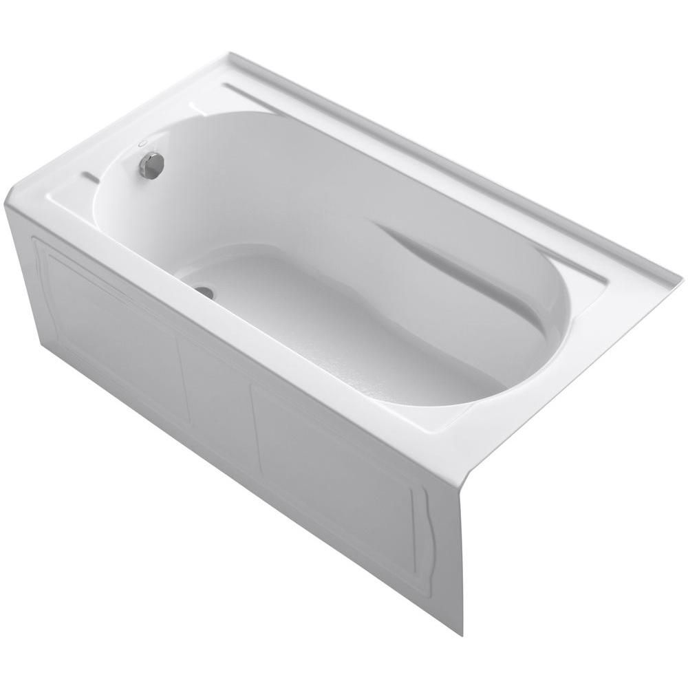 KOHLER Devonshire Bathtub with Integral Apron, Tile Flange and Left-Hand Drain in White