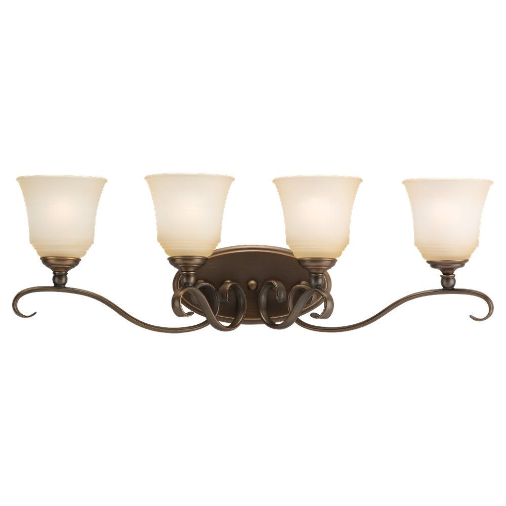 4 Light Russet Bronze Incandescent Bathroom Vanity