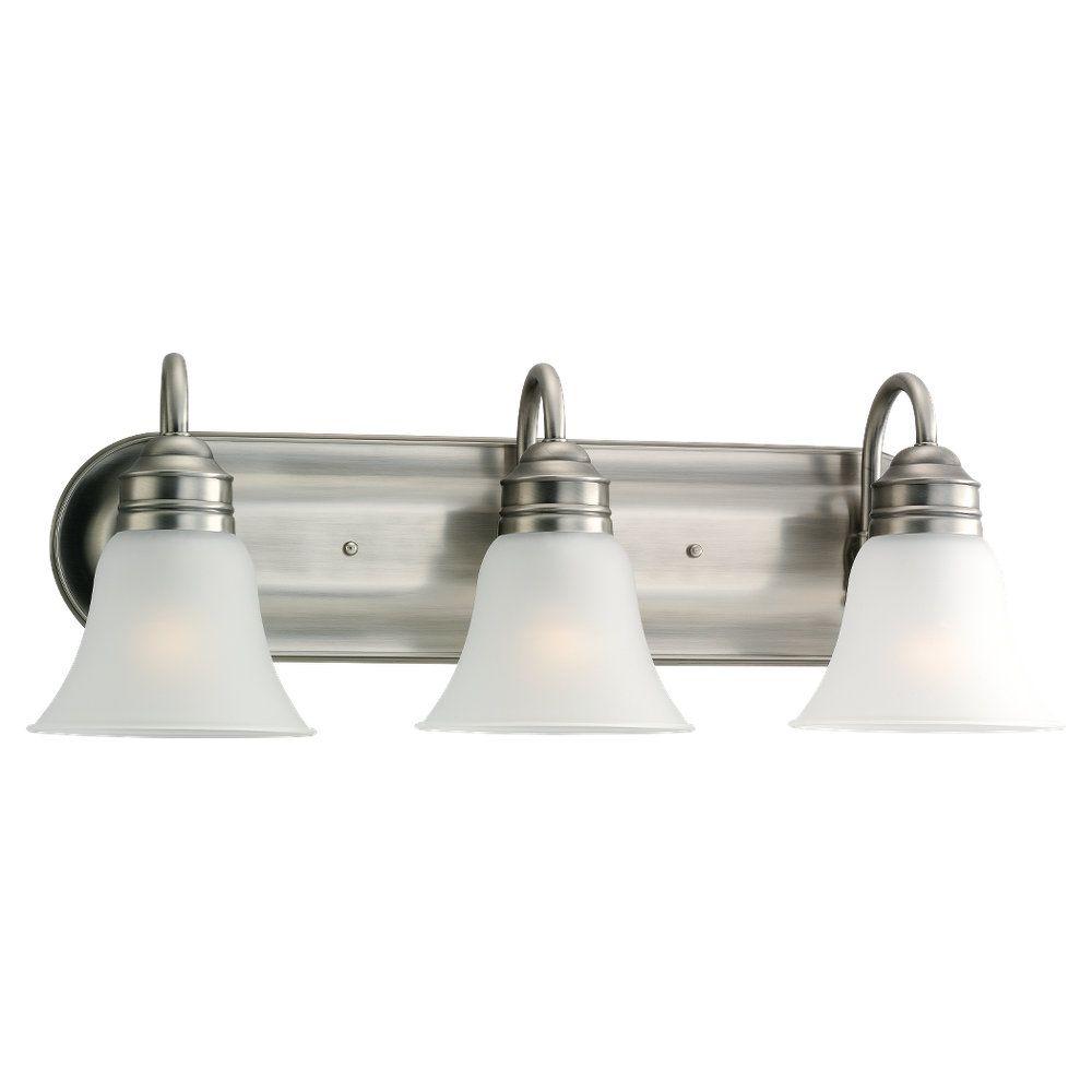 3 Light Antique Brushed Nickel Fluorescent Bathroom Vanity