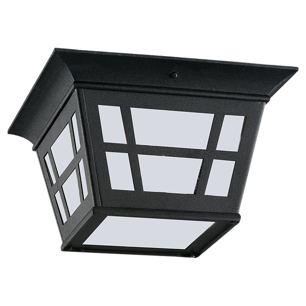 1 Light Black Fluorescent Outdoor Ceiling Fixture