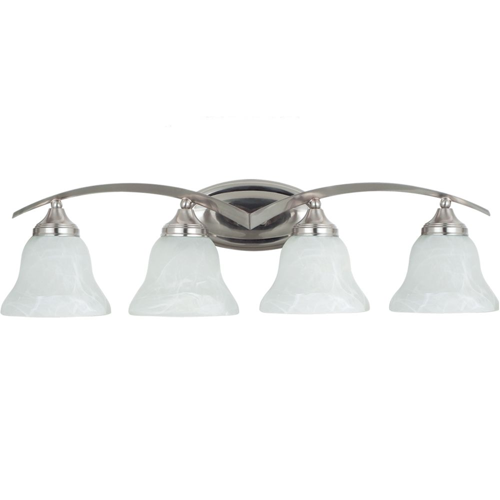 Sea gull lighting 4 light brushed nickel bathroom vanity the home depot canada for Brushed nickel bathroom lighting fixtures