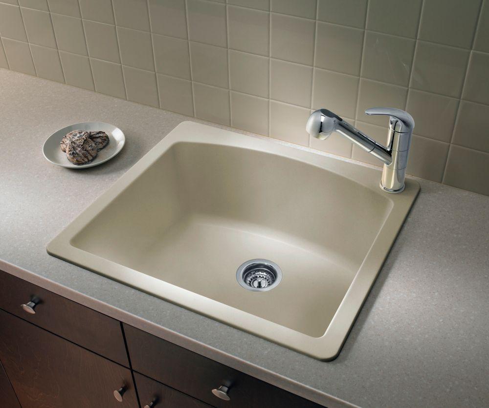 Silgranit, Natural Granite Composite Topmount Kitchen Sink, Biscotti