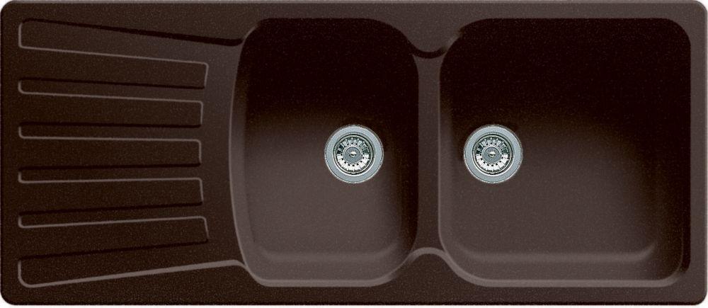 Évier SILGRANITMD composé de granit naturel, 2 cuves avec égouttoir intégré, montage en surface, ...