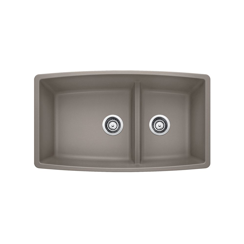 Blanco Undermount Granite 33-inch 60/40 Double Bowl Kitchen Sink in Truffle