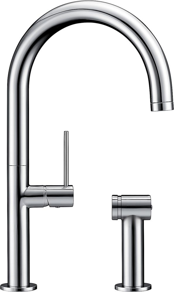 Solid Spout Faucet With Sidespray Stainless