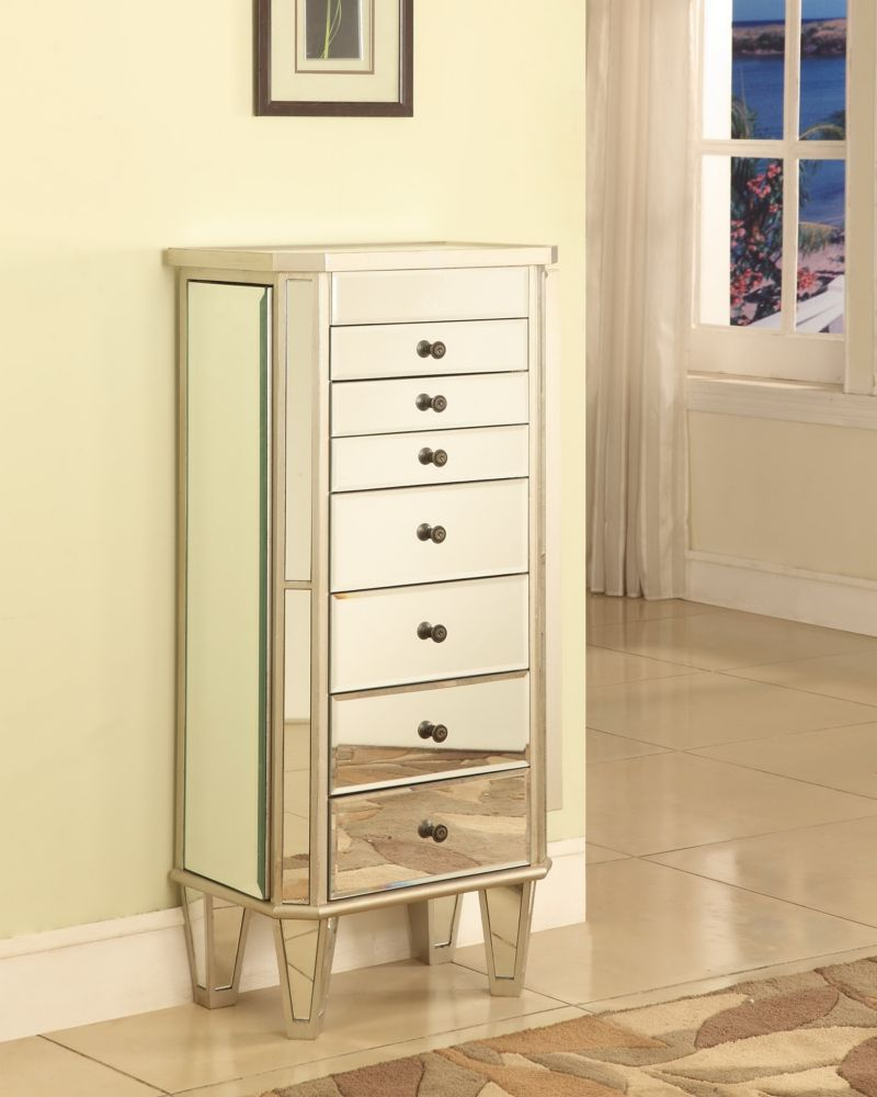 Mirrored Jewelry Armoire with Silver Wood