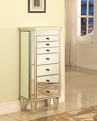 Powell mirrored jewelry armoire with silver wood the home depot canada mirrored jewelry armoire with silver wood solutioingenieria Choice Image