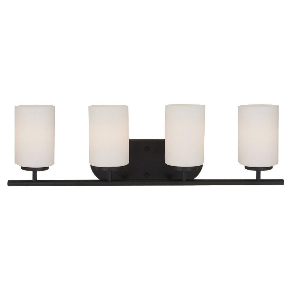 Lumière Seagull fixée au mur à quatre ampoules avec abat-jour de spécialité, Fini noir