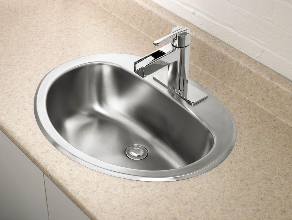 Oval Bathroom Sink in Stainless Steel