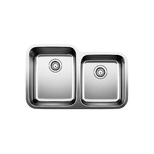 Stellar U 1  Double Bowl Undermount Kitchen Sink, Stainless Steel