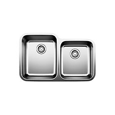 Stellar U 1  Double Bowl Undermount Kitchen Sink, Stainless Steel