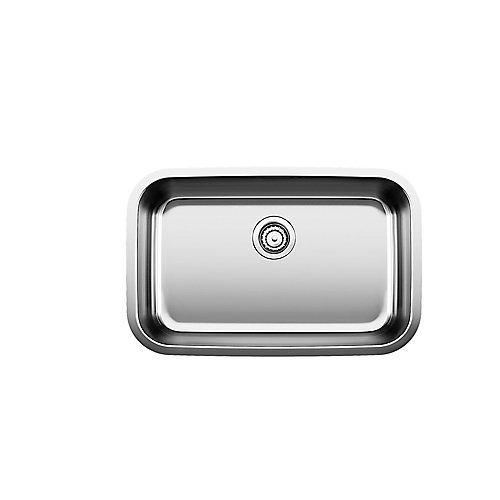 Stellar U Super Single Bowl Undermount Kitchen Sink, Stainless Steel