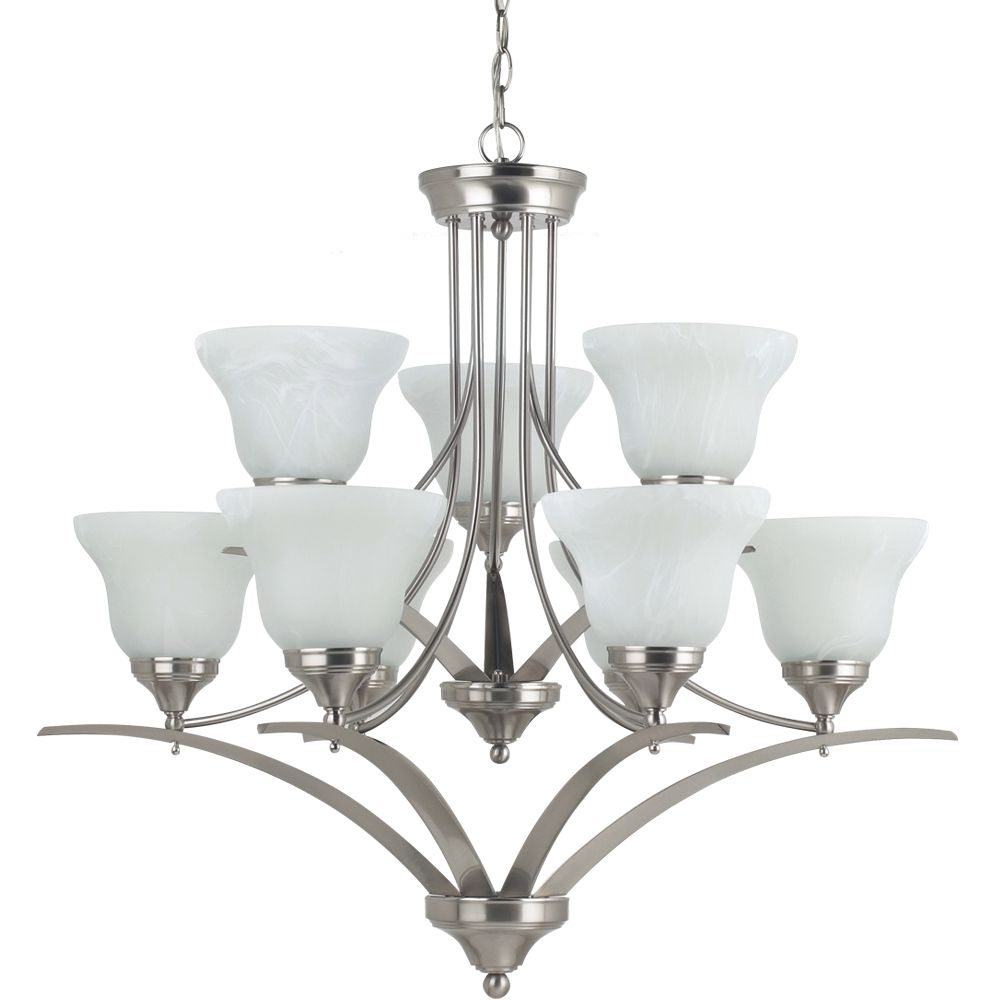 9 lumières Chandelier incandescence brossé Nickel