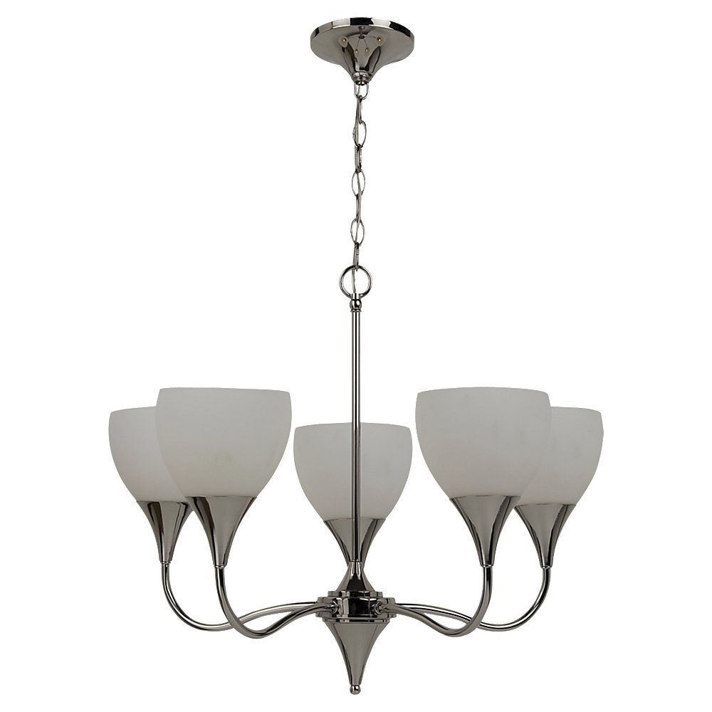 5 Light Polished Nickel Incandescent Chandelier