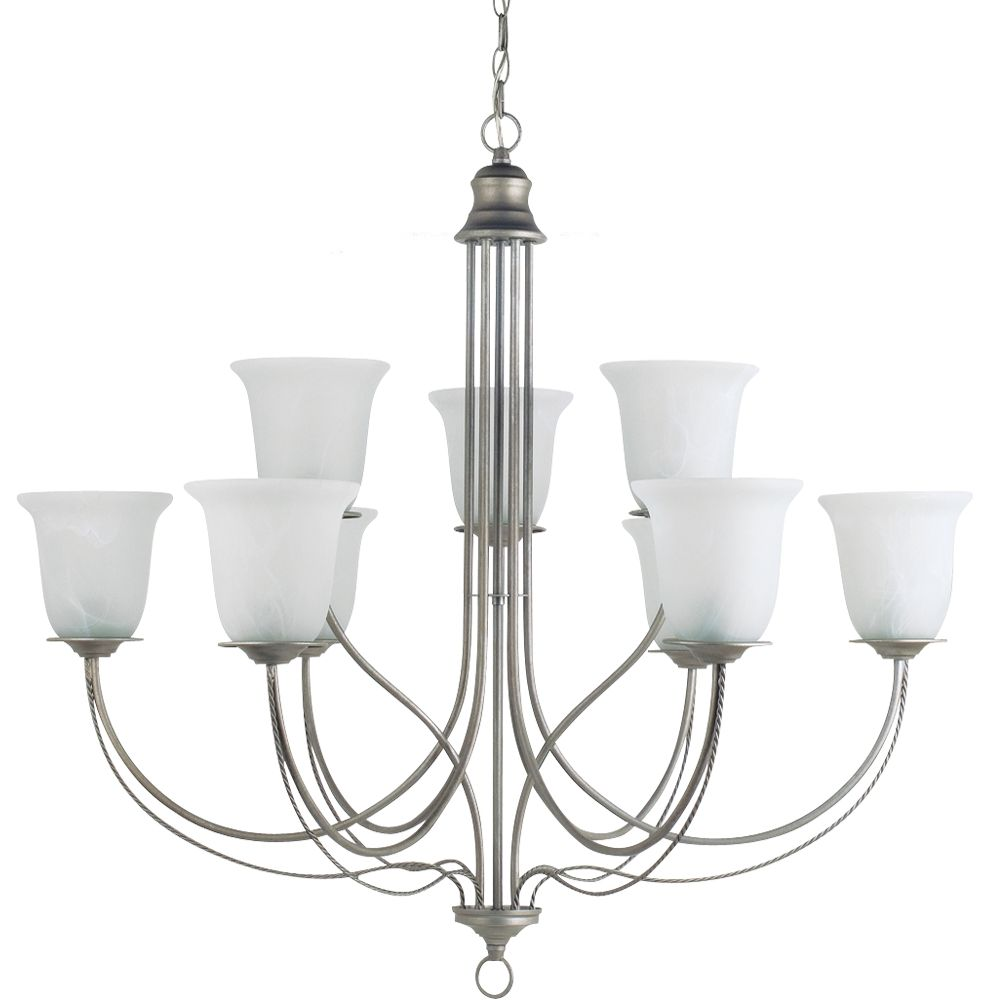9-Light Weathered Pewter Chandelier
