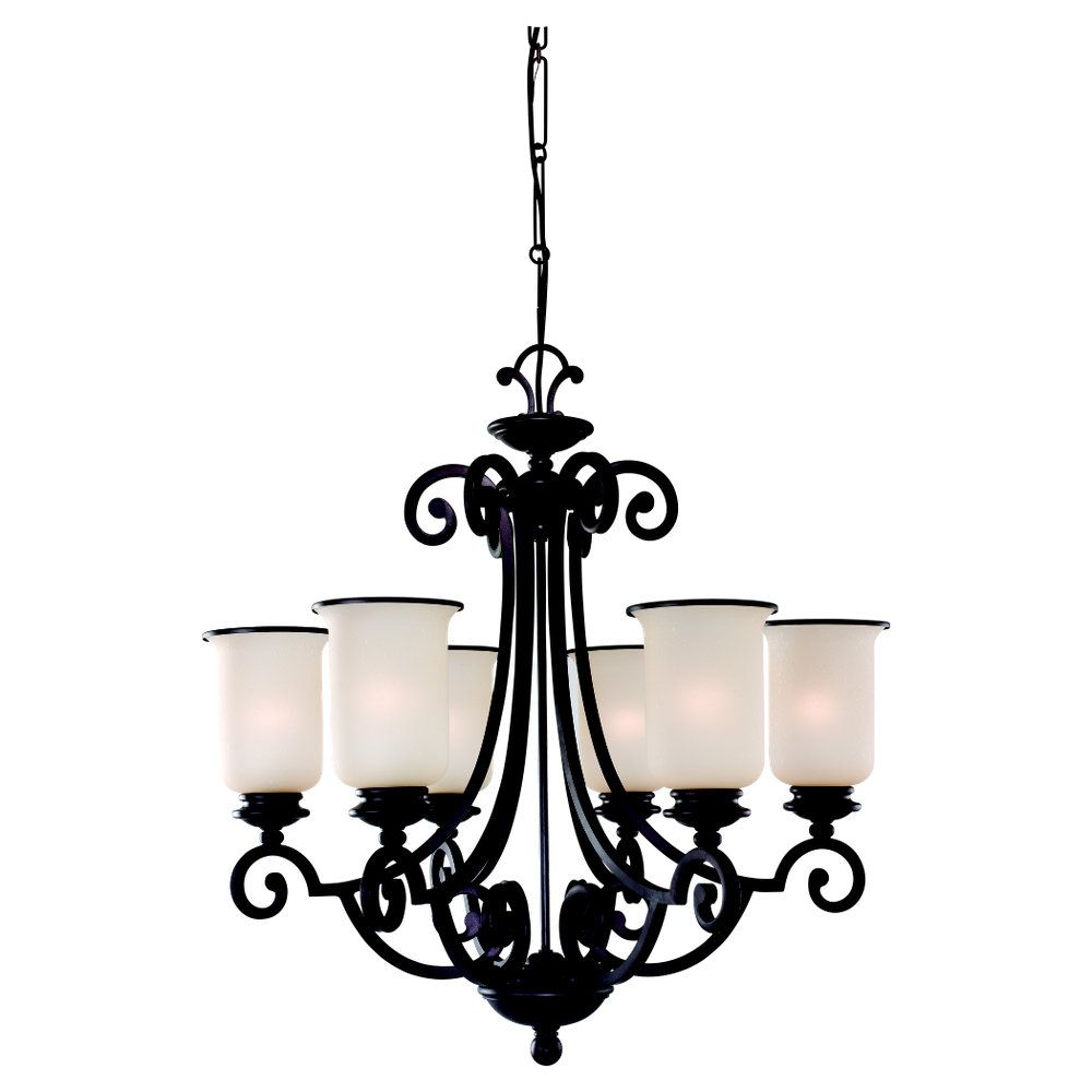 6-Light Misted Bronze Chandelier
