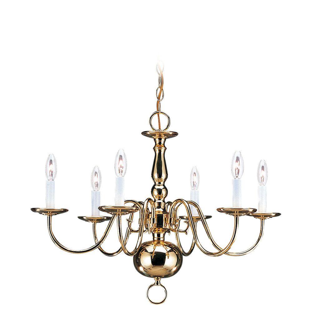 6 Light Polished Brass Incandescent Chandelier