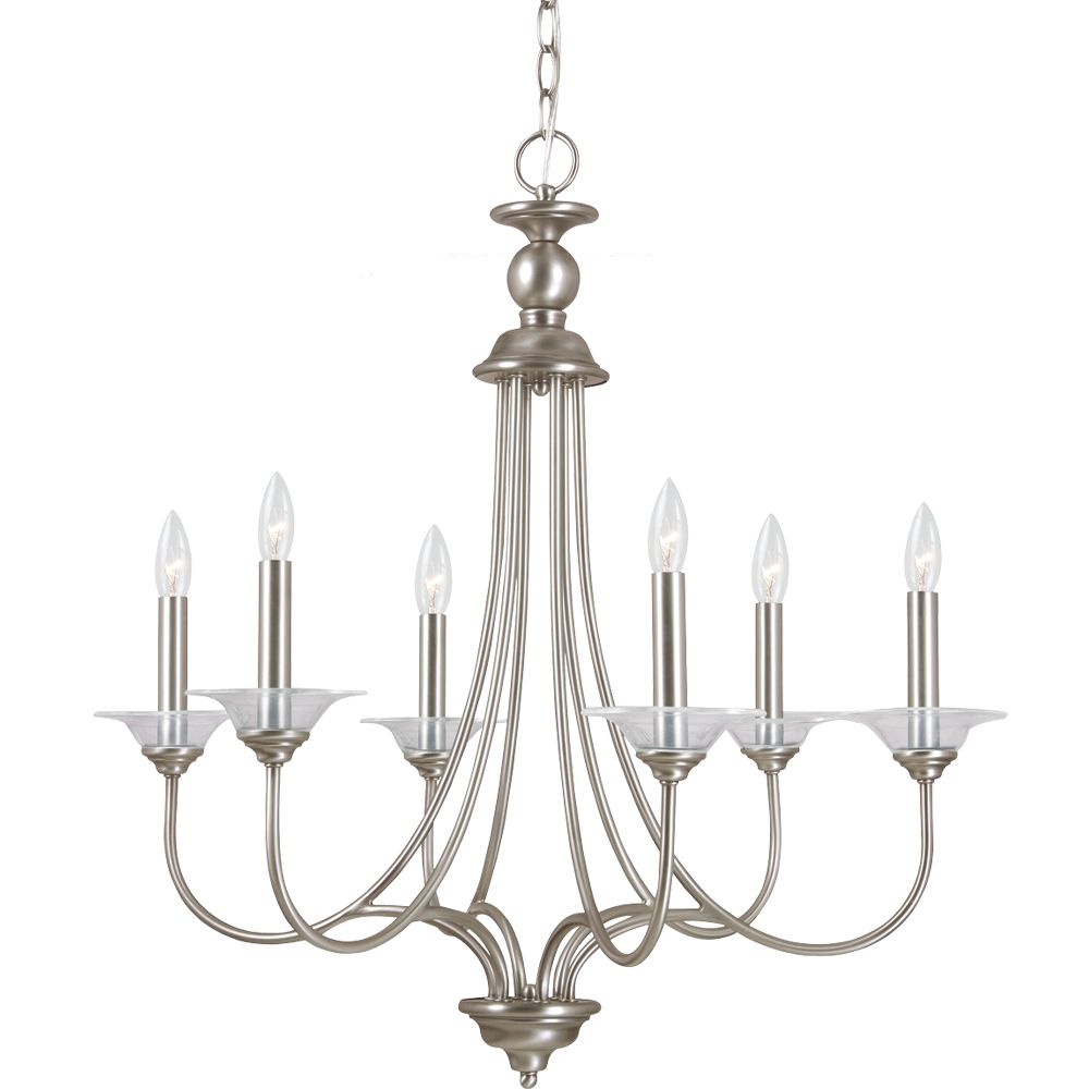 6 Light Antique Brushed Nickel Incandescent Chandelier