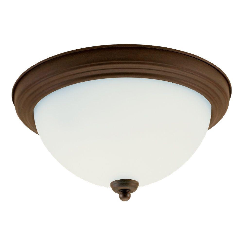 2 Light Russet Bronze Incandescent Ceiling Fixture