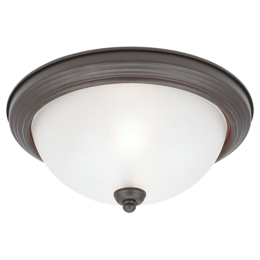2-Light Misted Bronze Ceiling Fixture