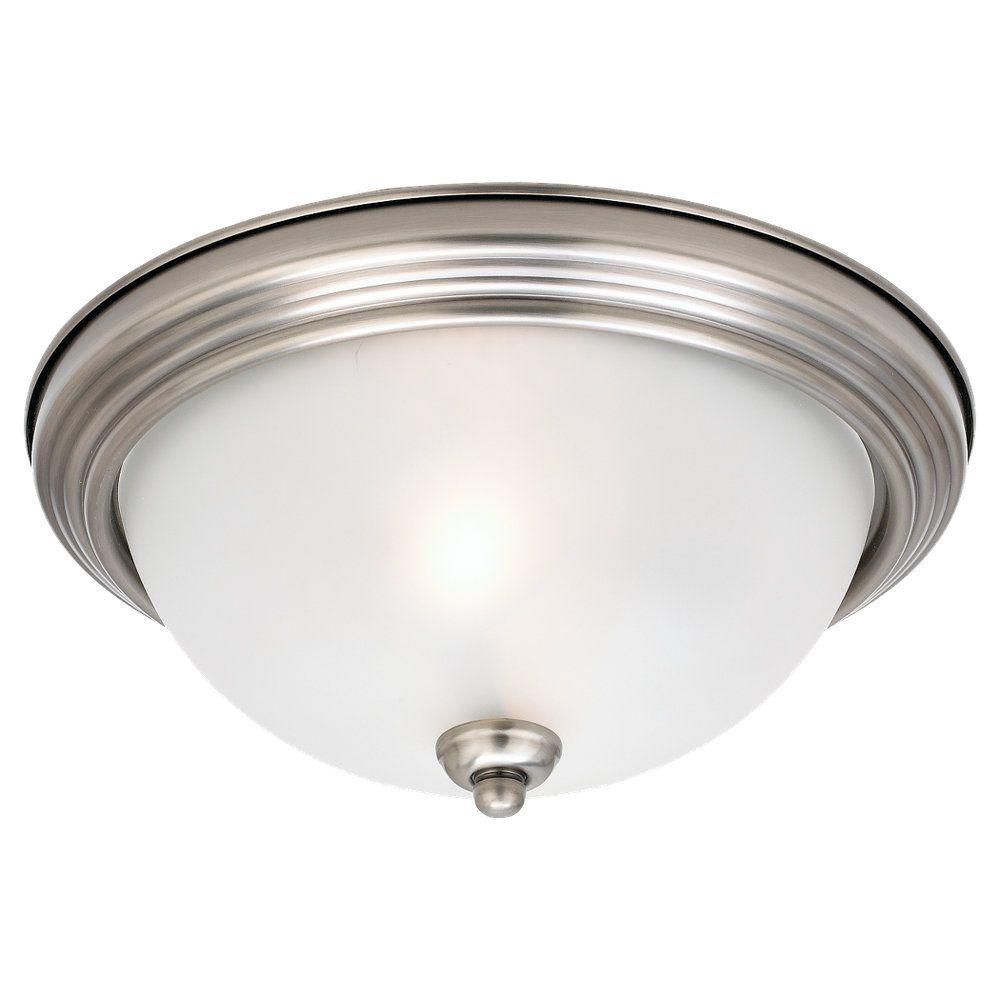 Sea Gull Lighting 2 Light Antique Brushed Nickel Incandescent Ceiling Fixture