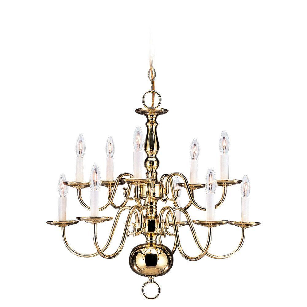 10 Light Polished Brass Incandescent Chandelier