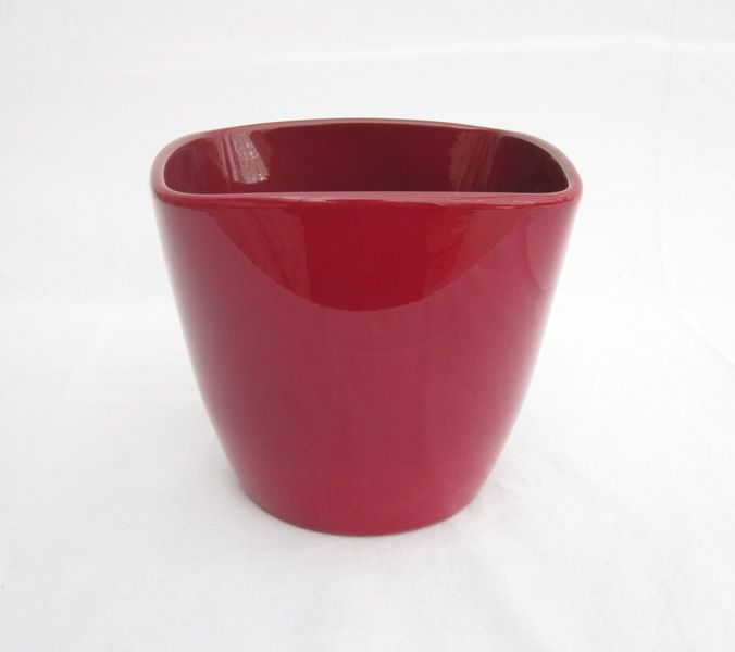 Ceramic Pot Low Red 6 Inch