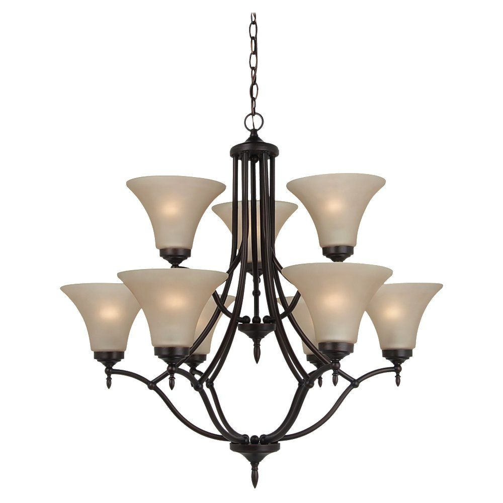 9-Light Burnt Sienna Chandelier