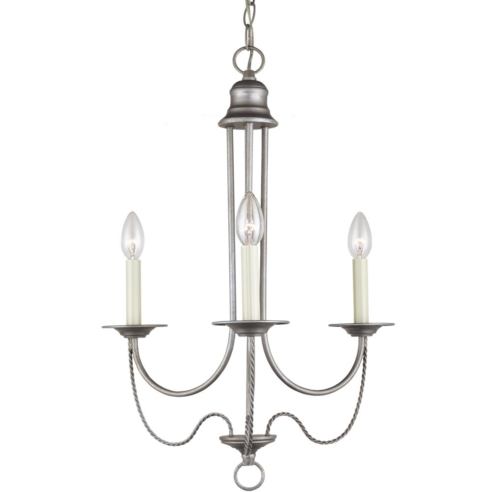 3-Light Weathered Pewter Chandelier