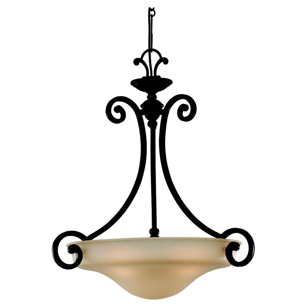 3-Light Misted Bronze Pendant