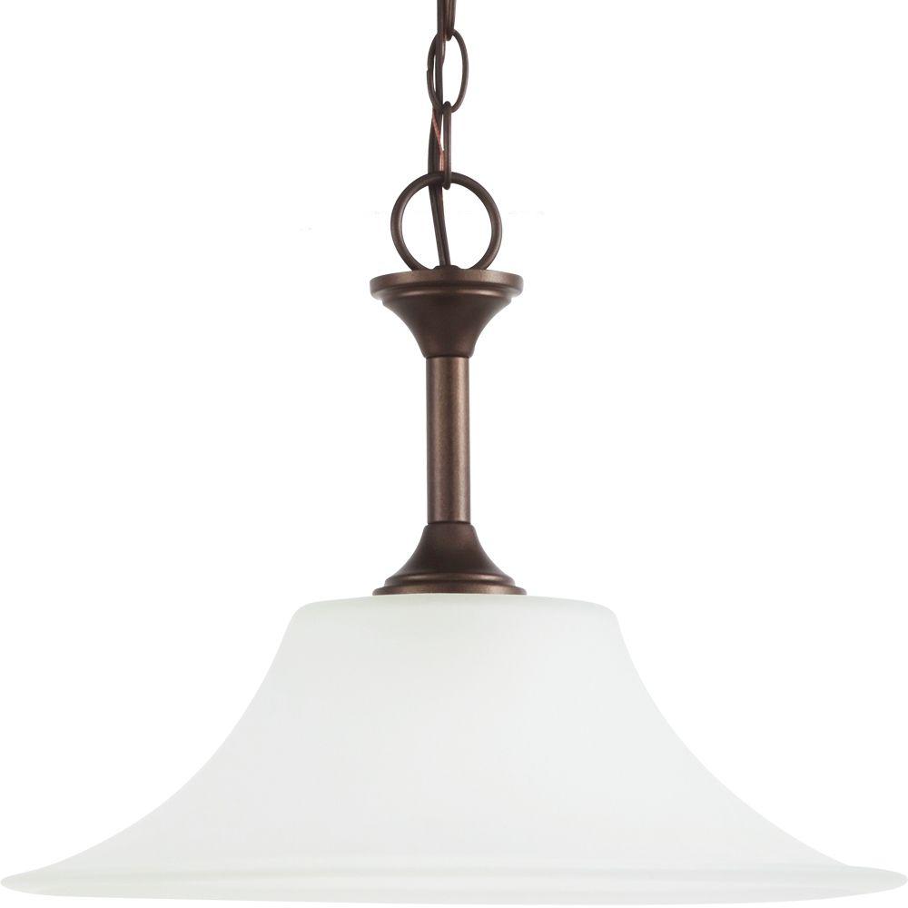 Sea Gull Lighting 1 Light Bell Metal Bronze Fluorescent Pendant