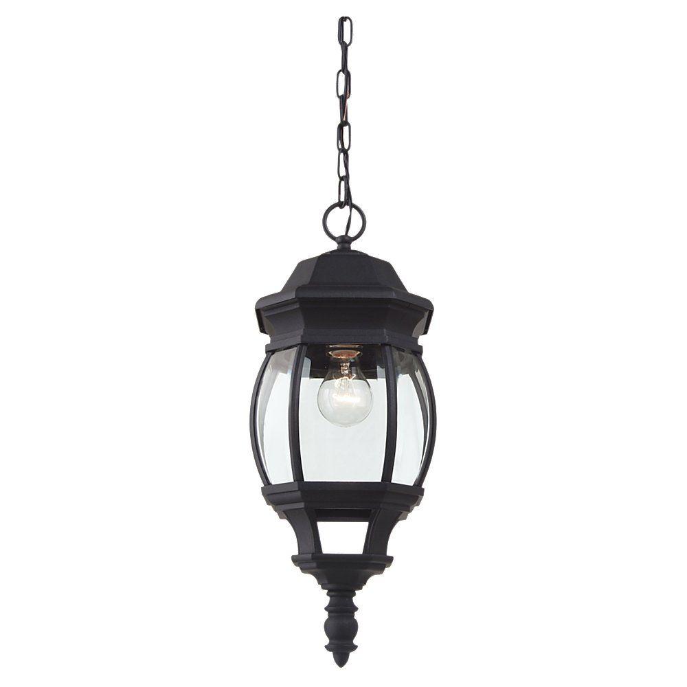 1-Light Black Outdoor Pendant