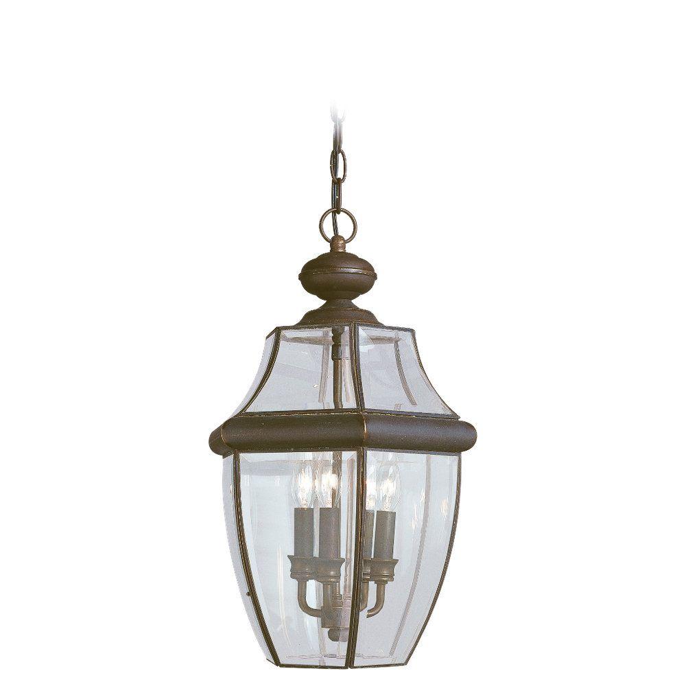 Lustre Seagull à trois ampoules avec abat-jour clair, Fini bronze