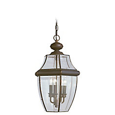 3-Light Antique Bronze Outdoor Pendant