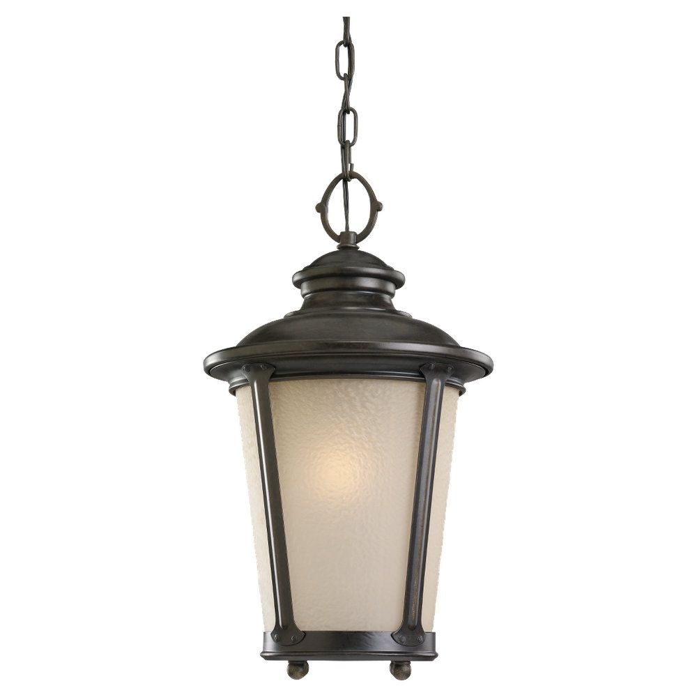 1-Light Burled Iron Outdoor Pendant