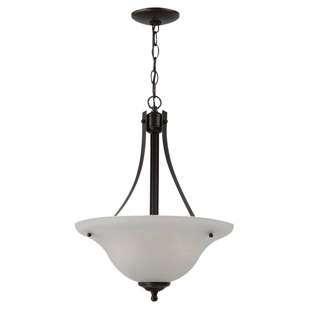 Lustre Seagull à deux ampoules avec abat-jour de spécialité, Fini bronze
