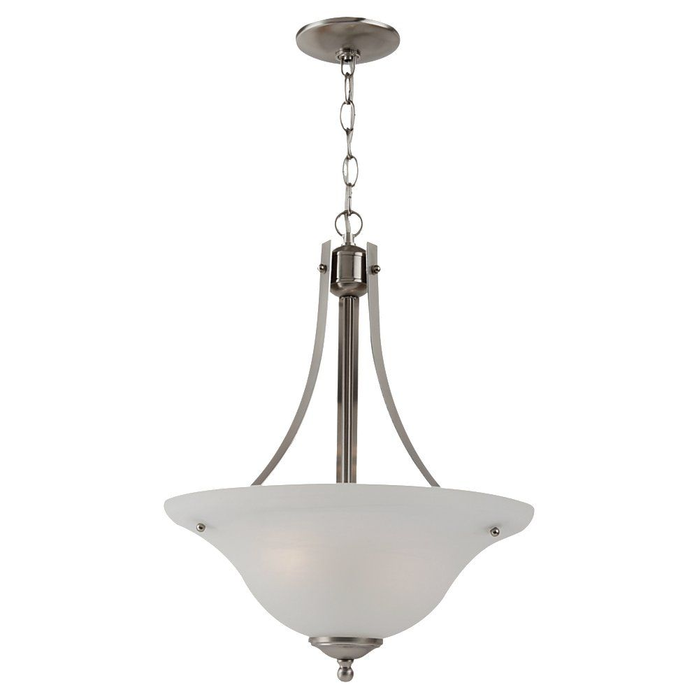 2 Light Brushed Nickel Fluorescent Pendant