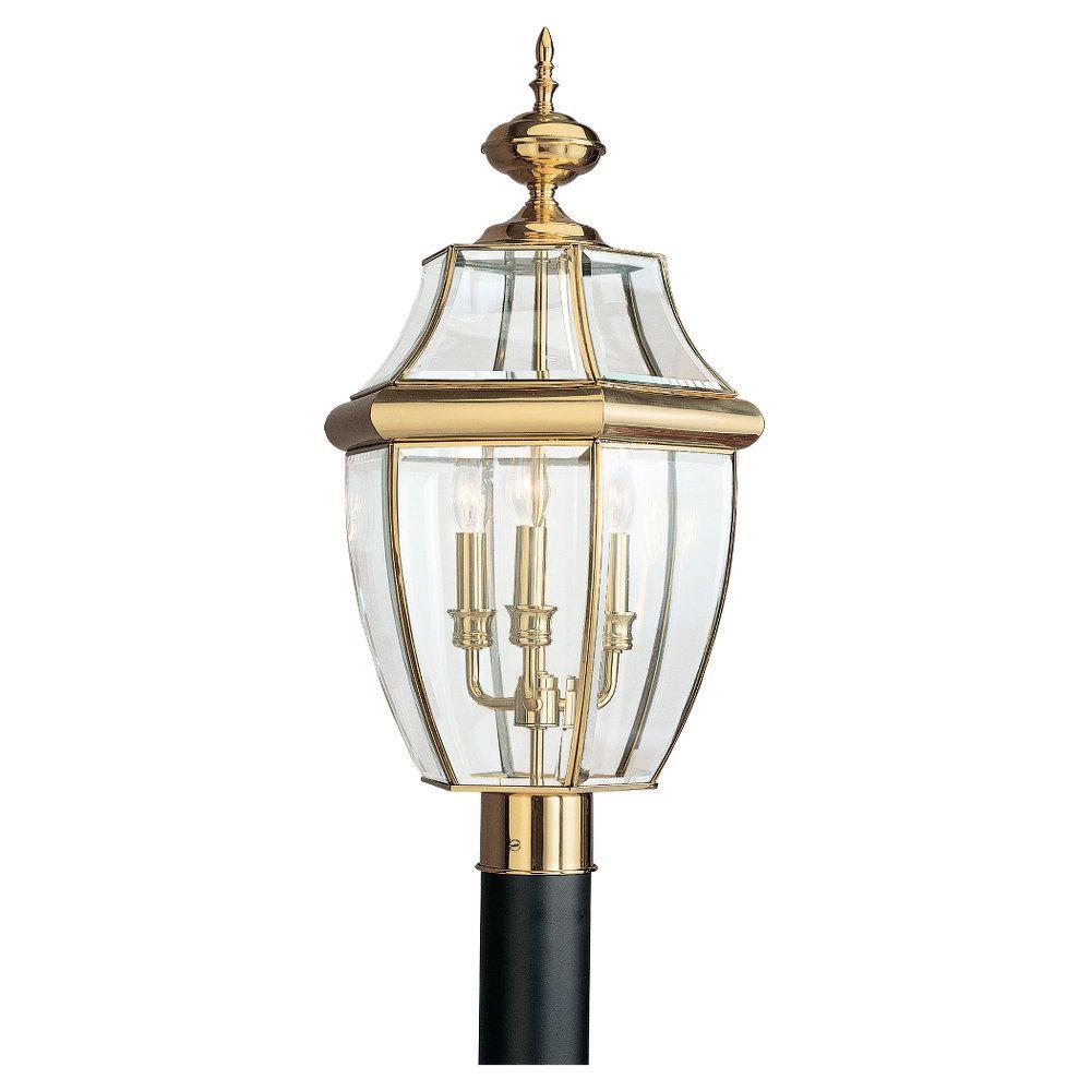 3-Light Polished Brass Outdoor Post Lantern